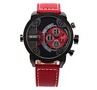 Herren-militärischen zwei Zeitzonen pu-Quarz-Armbanduhr