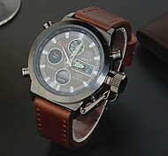 Men's Cow Leather Strap Analog Digital Military Chronograph Sport Wrist Watches (Assorted Colors)