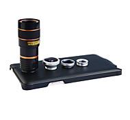 Apexel 4 in 1 lente kit 8x teleobiettivo + grandangolare + obiettivo macro + lente fisheye con il caso posteriore per la galassia nota 4