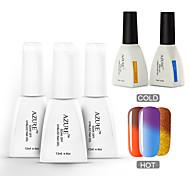 Azure 5 Pcs/Lot Nail Gel Polish Nail Art Color Changing UV Gel Nail Polish for Nail Beauty (#37+#41+#45+BASE+TOP)