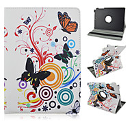 For Samsung Galaxy Case with Stand / Flip / 360° Rotation / Pattern Case Full Body Case Butterfly PU Leather Samsung Tab A 9.7