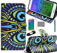 coco Fun® green Englisch Muster PU-Lederetui mit Film-und USB-Kabel und Stift für Samsung-Galaxie alpha g850f G850