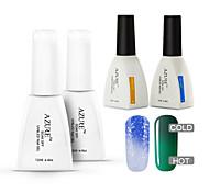 azzurro 4 pc / lotto impregna fuori duratura nail art gel uv cambiare colore vernice smalto (# 30 + # 40 + base + top)