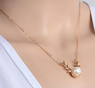 Women's New Fashion Simple Metal Antlers Pearl Pendant Necklace
