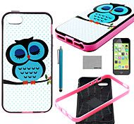COCO FUN® Sleeping Owl Pattern Soft TPU Back Case Cover with Screen Protector and Stylus for iPhone 5C