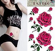 Séries Flores - Love2sis - Tatuagem Adesiva - Non Toxic/Tamanho Grande/Lombar - para Feminino - de Papel - Multicolorido - 21 - Rose - com