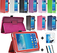 New Design Pu Leather Case Cover For Samsung Galaxy Tab3 7.0 P3200 P3210 T210 T211 + Touch Pen + Screen Protector