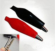 Nickel-plated Spring Clip Alligator Clip Battery Clip Explosion (1 + 1 black red)