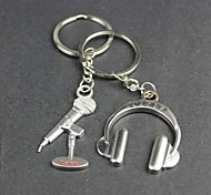 Alloy Microphone Headset Lovers Key Chain