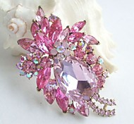 Women Accessories Art Deco Gold-tone Pink Rhinestone Crystal Brooch Bouquet Flower Brooch Women Jewelry