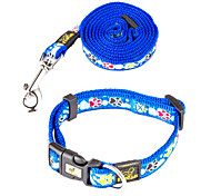 Cat / Dog Collar / Leash Footprint/Paw Red / Blue / Purple Nylon