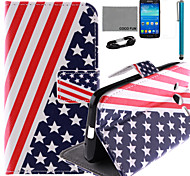 COCO FUN® USA Flag Pattern PU Leather Case with Screen Protector and Stylus for Samsung GALAXY CORE LTE G386F