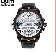 Oulm Men Watch with 4-Movt Quartz Special Unique Design Dial and Leather Watchband