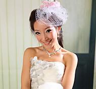 Capacete Fascinador/Flores Casamento/Ocasião Especial Rede Mulheres Casamento/Ocasião Especial 1 Peça