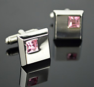 Toonykelly® Fashion Men's Silver Plated Pink Rhinestone CZ Crystal Cufflink Button(1 Pair)