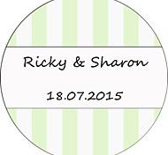 Etiquetas Personalizadas/Adesivos Personalizados - Personalizado - Círculo - de Papel Filmado Verde/Branco