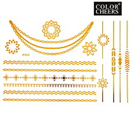1Pc Gold Long Bracelet And Necklace Tattoo Sticker 23x15CM