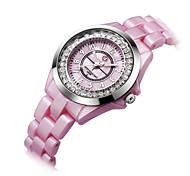 Ladies    Shiny Crystal Dial    plastic bracelet    Japan Quartz Movement    Fashion Watch (Assorted Colors)