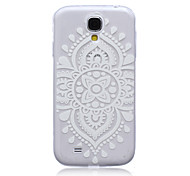 White Mandala Flower Pattern Ultrathin TPU Soft Back Cover Case for Samsung Galaxy S4 I9500
