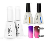 azur 4 pièces / lot gel uv caméléon Soak-Off soins de vernis à ongles (# 04 + # 14 + base + haut)