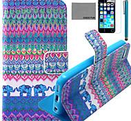 Coco fun® padrão colorido da borboleta estojo de couro pu com protetor de tela e caneta para iPhone 5 / 5s