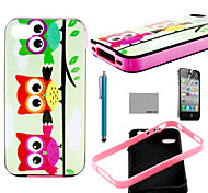 COCO FUN® Three Owl Pattern Soft TPU Back Case Cover with Screen Protector and Stylus for iPhone 4/4S