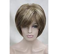 nueva de color marrón claro con punto culminante rubia peluca sintética tres de las mujeres rectas cortas