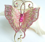 Women Accessories Gold-tone Pink Rhinestone Crystal Butterfly Brooch Art Deco Insect Brooch