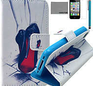 Coco fun® padrão pé vermelho estojo de couro pu branco com protetor de tela e caneta para iPhone 4 / 4S