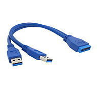 USB 3.0 Male 20 Pin Motherboard Extension Adapter to Dual Male USB 3.0 Converter Adapter Cable