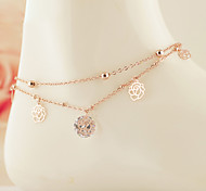 European Style Fashion Crystal Rose Gold Zircon Roses Double Layer Anklets