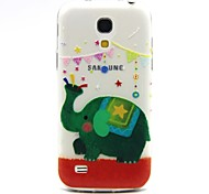 Green Elephant Pattern TPU Relief Back Cover Case for Samsung Galaxy S4 Mini I9190