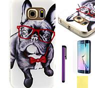 teste padrão do cão óculos TPU tampa traseira macio para samsung galaxy S6 colocação borda flim e caneta