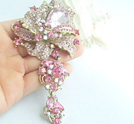 Women Accessories Gold-tone Pink Rhinestone Crystal Dangling Flower Brooch Art Deco Brooch Bouquet Women Jewelry