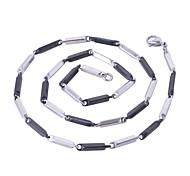 3MM*52CM/61CM Women Men Fashion Black/Silver Stainless Steel Chain Necklaces Pendant Chains