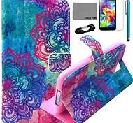 coco Fun® pink lila Eulenmuster PU-Lederetui mit Film-und USB-Kabel und Stift für Samsung-Galaxie i9600 s5