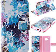 Blue Beautiful Design PU Leather Stand Case with Card Slot for HTC M9