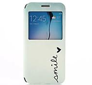 padrão sorriso rotação de 360 graus com janelas caso de material de corpo inteiro pu para Samsung Galaxy S6