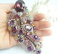 Women Accessories Gold-tone Purple Rhinestone Crystal Flower Brooch Art Deco Crystal Brooch Bouquet Women Jewelry