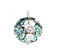 Round Shape Shell Alloy Rhinestone Pendant Jewelry for Necklace Flowers