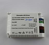 Luz ajustável 30-40w AC200-240V entrada 1200mA / saída dc32-42v levou driver (externo)