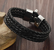 Titanium Steel Buckles Woven Leather Bracelet