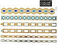 1Pc Gold Silver Blue Long Bracelet Tattoo Sticker 23x15.5CM