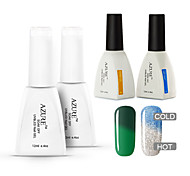 Azure 4 Pcs/Lot Soak-off Color Changing with Temperature UV LED Gel Polish Nail for Nail Beauty (#42+#46+BASE+TOP)