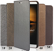 For Huawei Case Wallet / Card Holder / with Stand / Flip Case Full Body Case Solid Color Hard Genuine Leather Huawei Huawei Mate 7