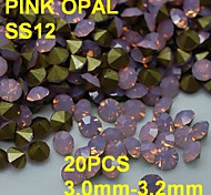 SS12 20pcs/lot 3.0mm-3.2mm Hot Sale Pink Color Opal Rhinestone with Golden Point Back Nail 3D Rhinestones Decoration