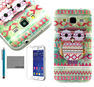 COCO FUN® Owl Tribal Pattern PU Leather Case with Screen Protector and Stylus for Samsung Galaxy Core Prime G360