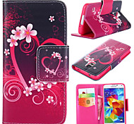 Plum Blossom Pattern with Card Bag Full Body Case for Samsung Galaxy S5 I9600