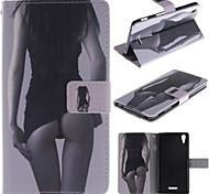 diseño de chica sexy de la PU del caso del soporte de cuero con ranura para tarjeta para sony xperia t3