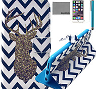 COCO FUN® Wave Deer Pattern PU Leather Case with Screen Protector and USB Cable and Stylus for iPhone 6